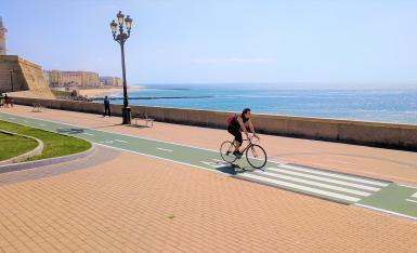 Cycling along coast in Cadiz