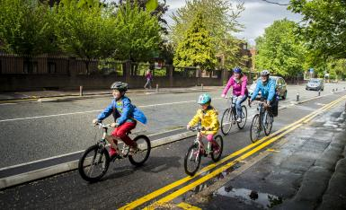Family cycling in Greater Manchester