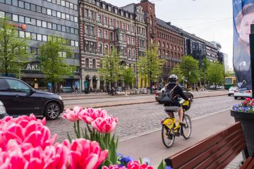 Female cyclist on the bicycle lane in central Helsinki, with flowers in the foreground.